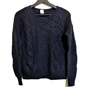 J. Crew Wool Mohair blend navy cable knit sweater